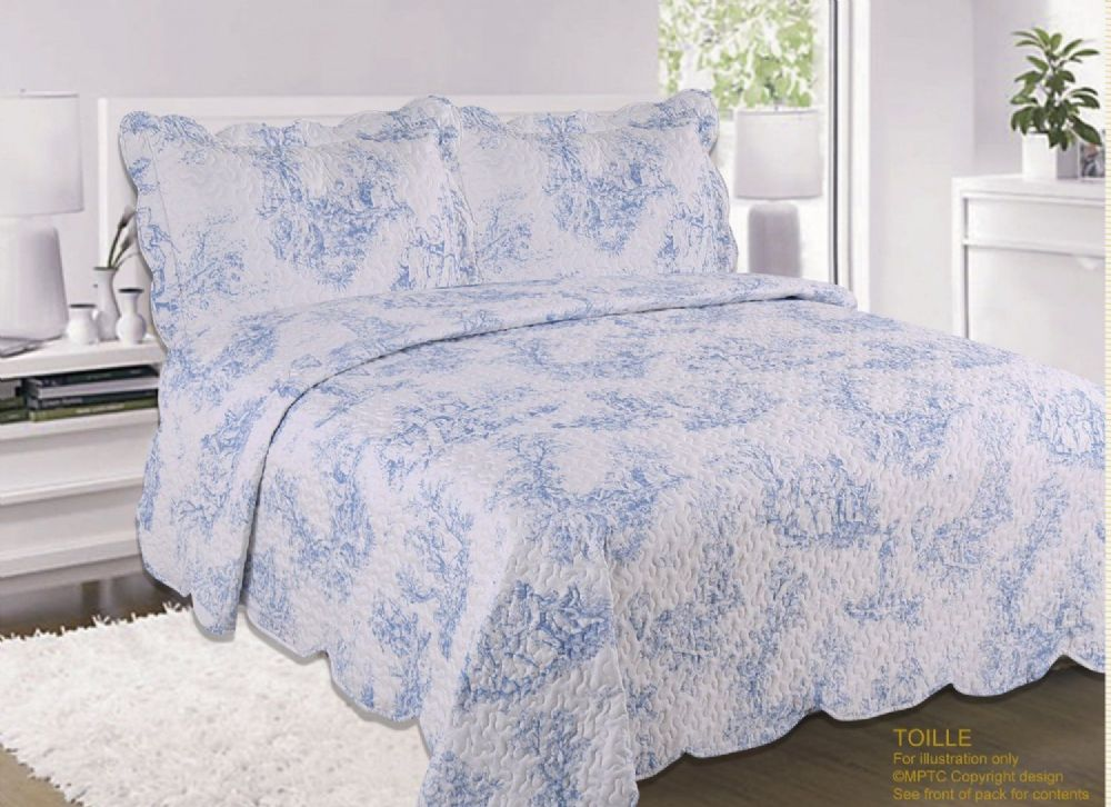 French Country Cottage Quilted Bedspread Comforter Set